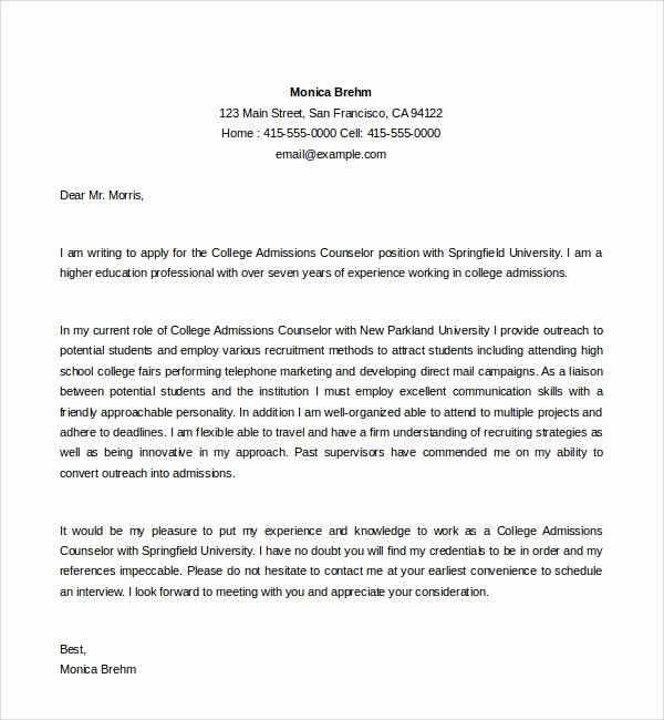 Reference Letters for College Admission Fresh 6 Admissions Counselor Cover Letters to Download
