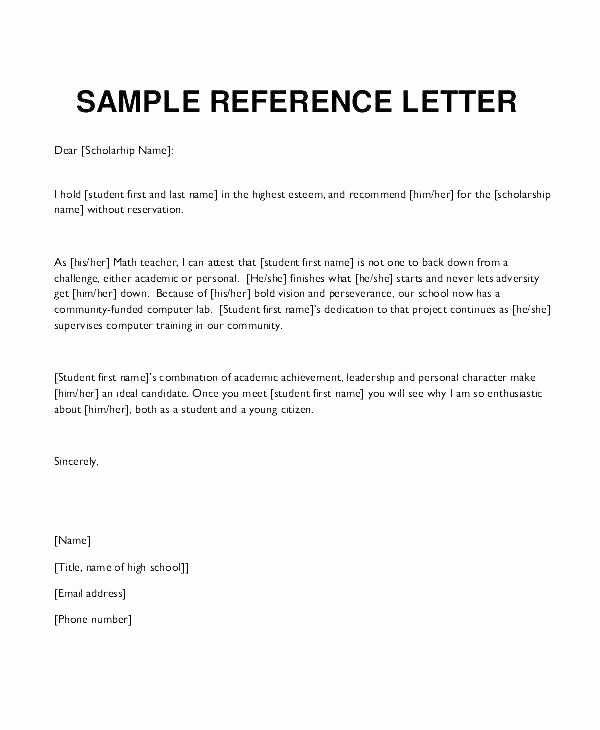 Reference Letters for College Admission Fresh Letter Re Mendation Template College Admission Samples