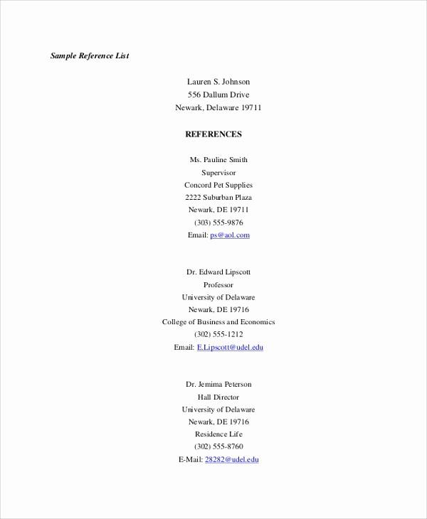 Reference List for A Job Elegant 9 Sample Reference Lists