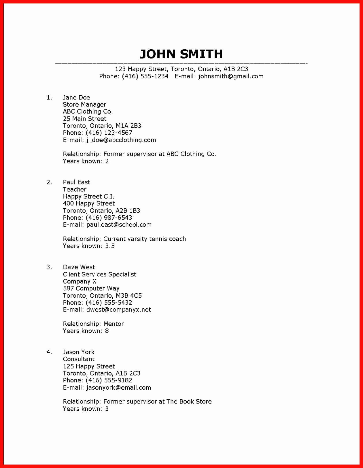 Reference List for A Job Inspirational Reference List Resume