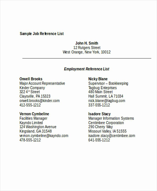 Reference List for A Job Luxury 33 Free List Samples