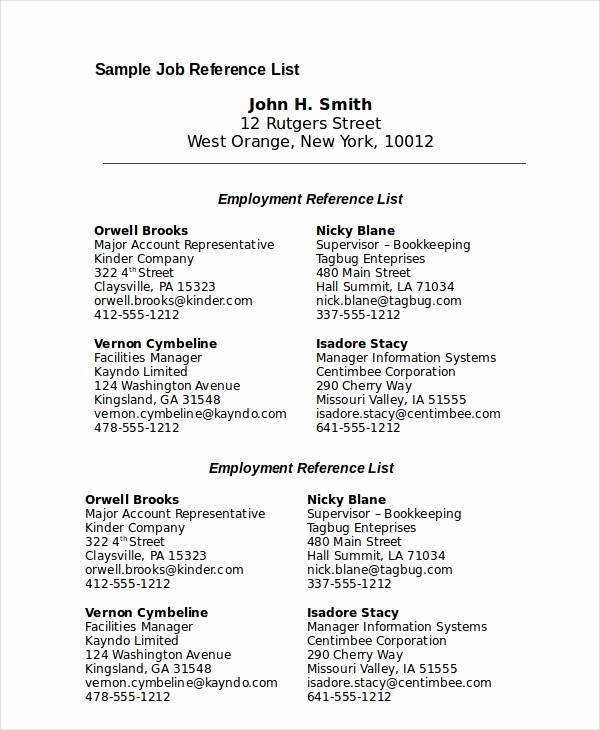Reference List for Job Application Fresh Reference List 8 Free Pdf Word Documents Download