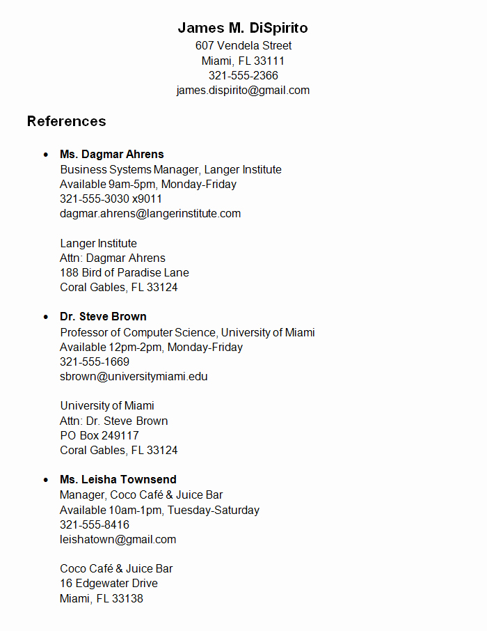 Reference List for Job Application Luxury References for A Job 6 Job Reference Letter Templates Free
