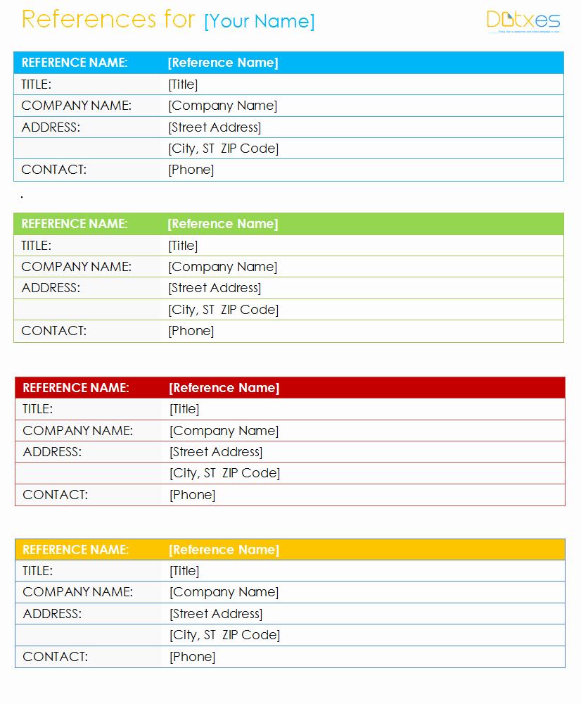 Reference List Template Microsoft Word Elegant Resume Reference List Template Dotxes