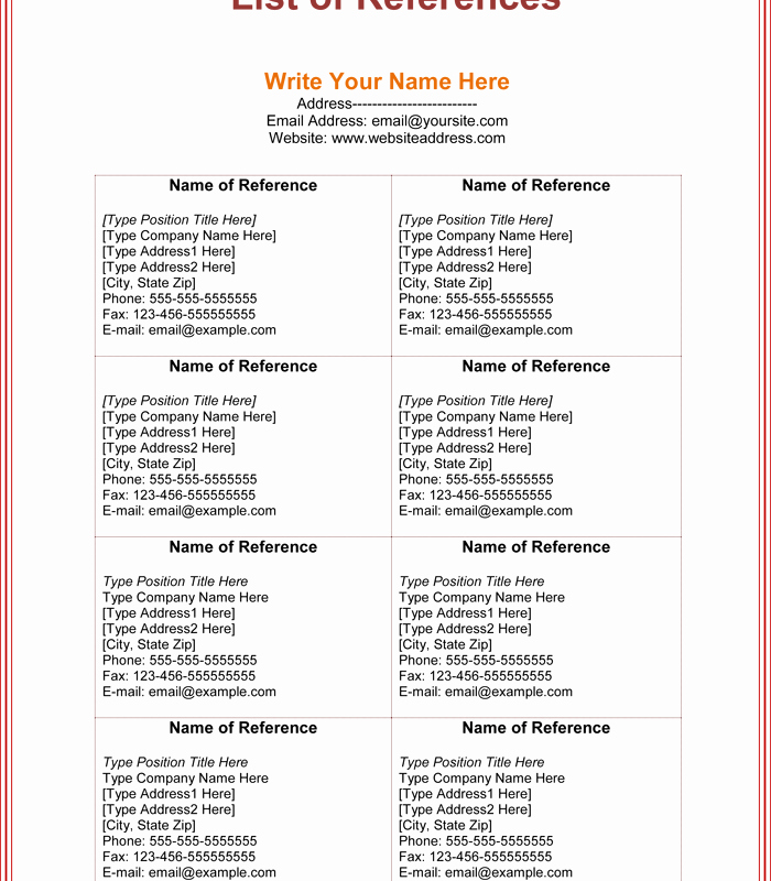Reference List Template Microsoft Word Lovely Free Printable List Templates