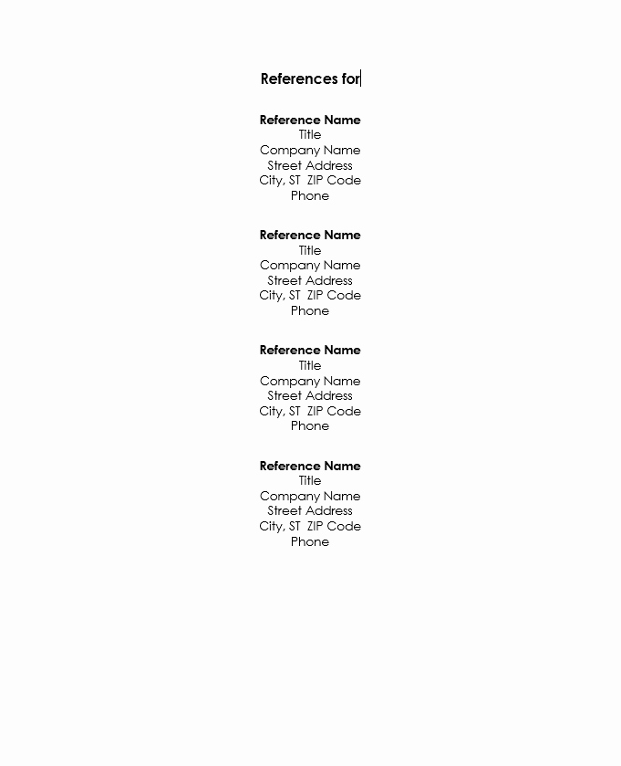 Reference List Template Microsoft Word New Resume Reference List