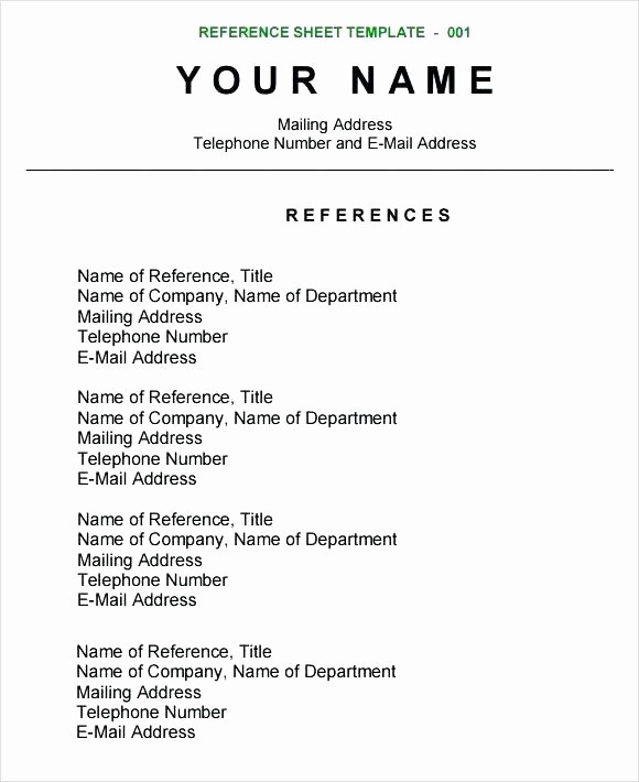 Reference List Template Microsoft Word Unique Resume Reference Template – Evel Amurskaya