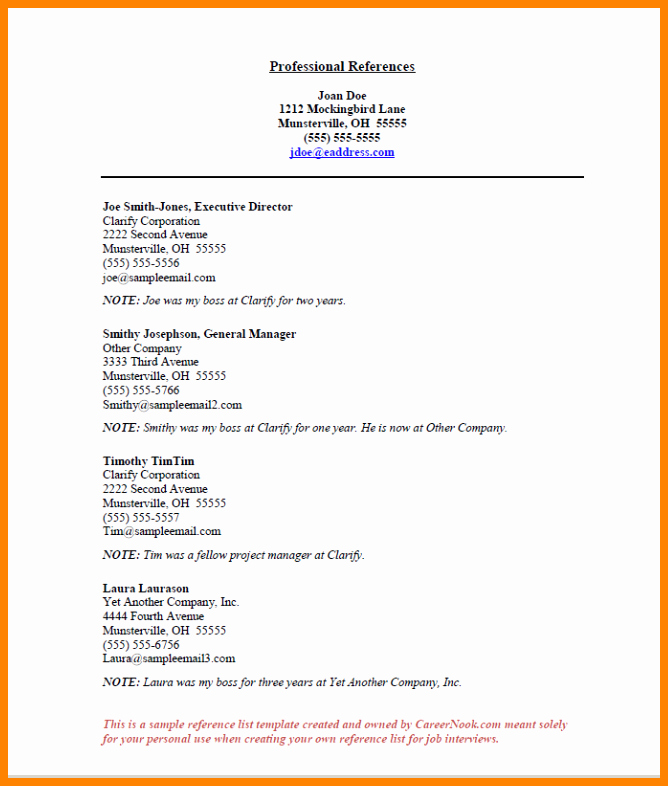 Reference Page Layout for Resume Luxury 4 Job References format