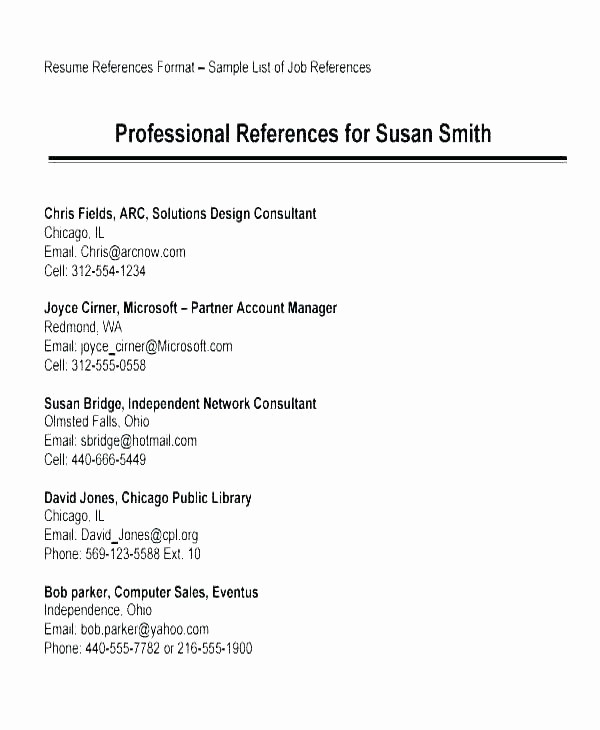 Reference Sheet for Resume Template Lovely Job Reference Page format A List References Sample