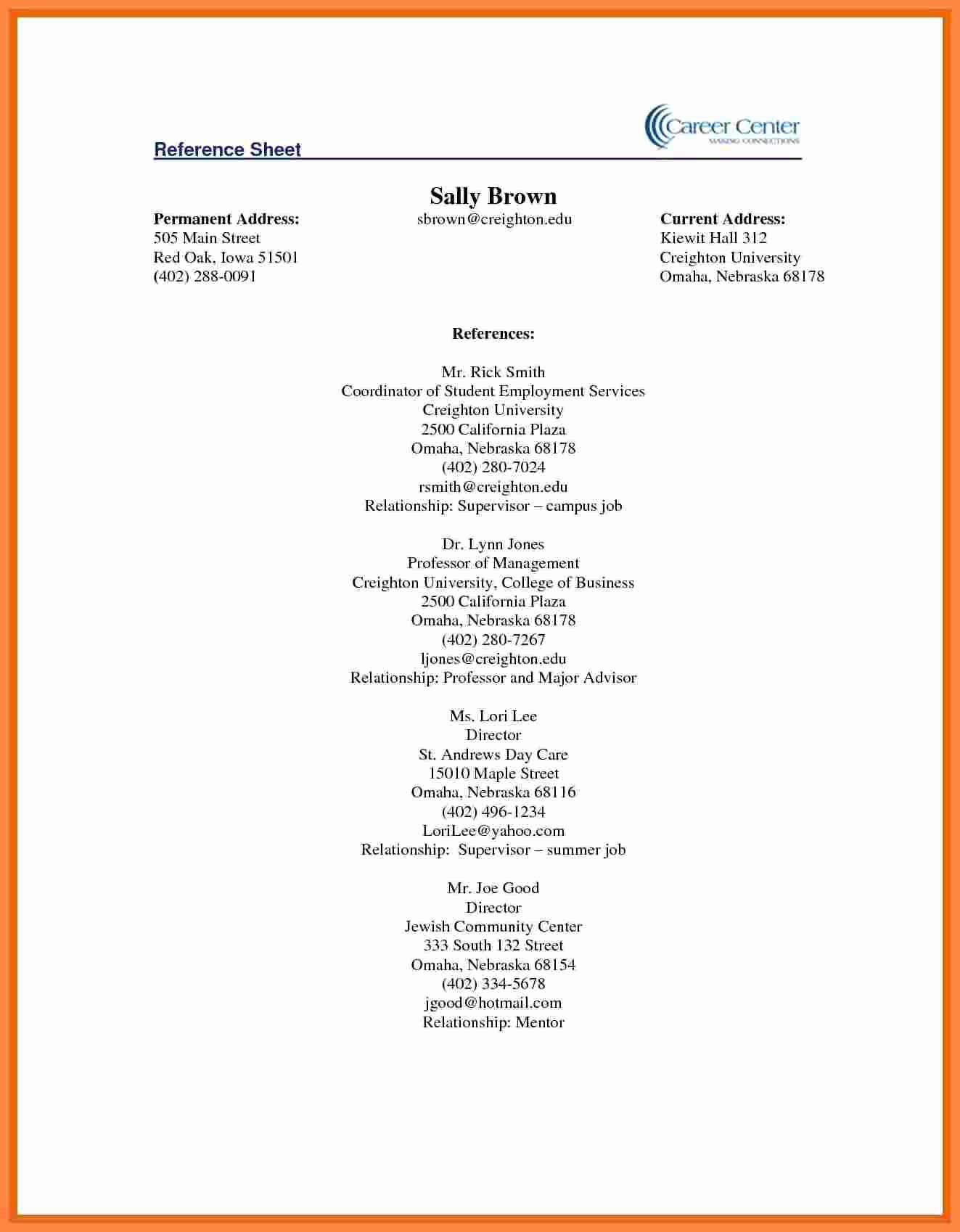 Reference Sheet for Resume Template Luxury 5 Reference Sheet for Resume Template