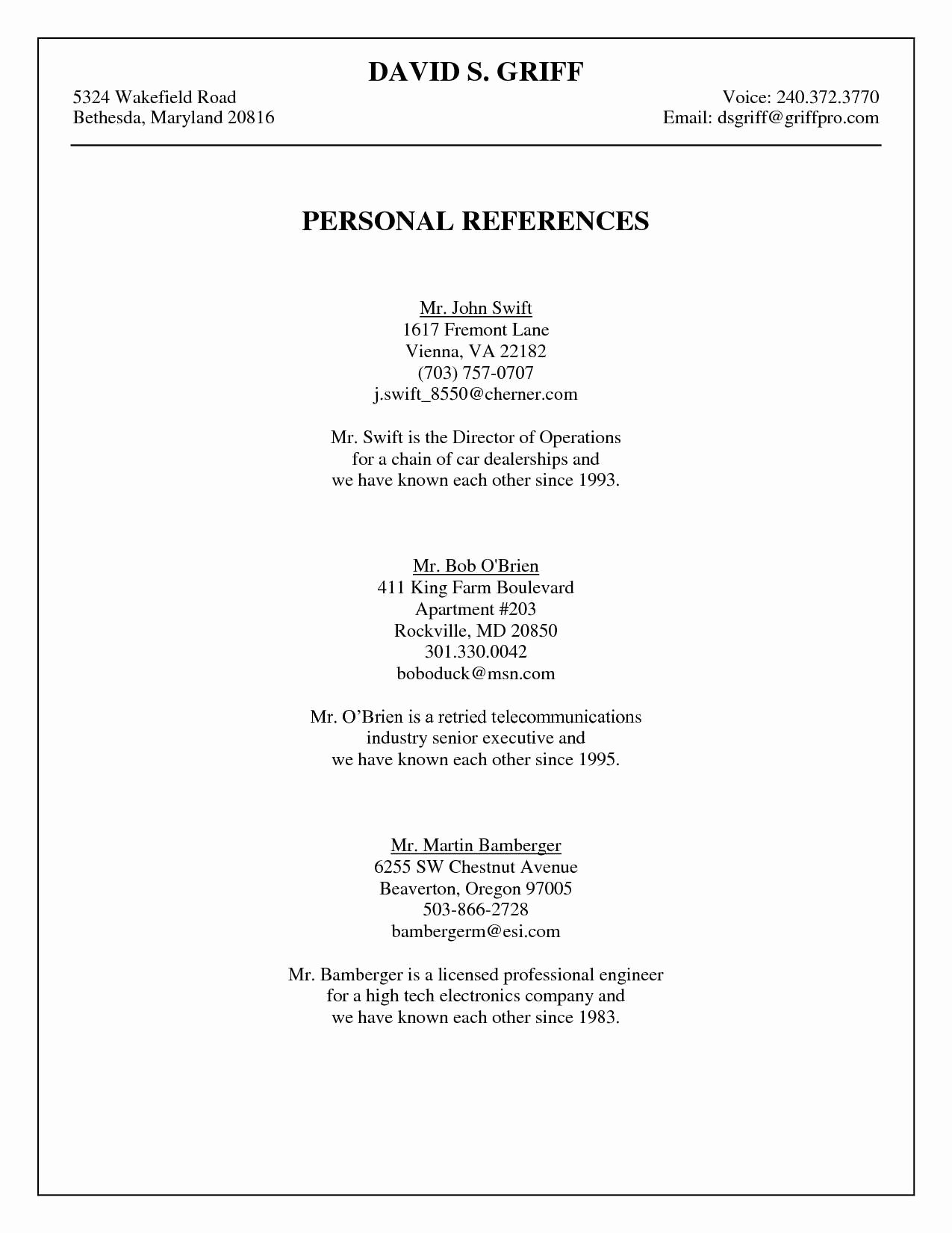 Reference Sheet for Resume Template New Professional References Page Template Free Reference