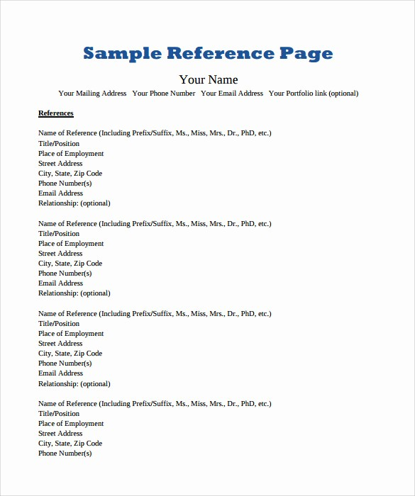 References Page format for Resume Luxury Reference Page Template