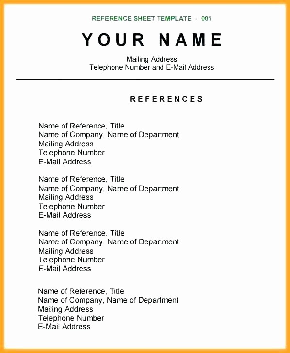 References Page format for Resume Unique Reference Page Example