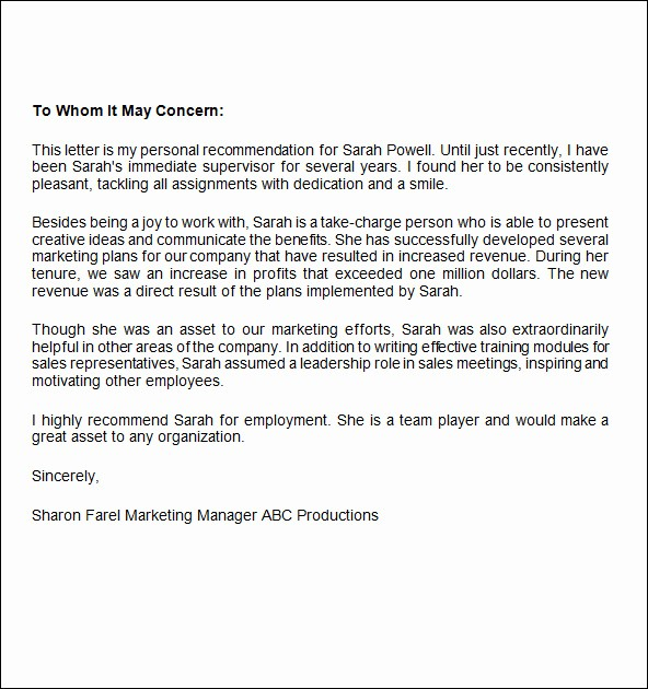 Referral Letter Sample for Employment Luxury Job Re Mendation Letter 9 Free Documents In Word Pdf