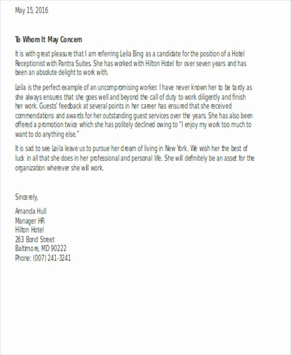 Referral Letter Sample for Employment New Employment Reference Letter