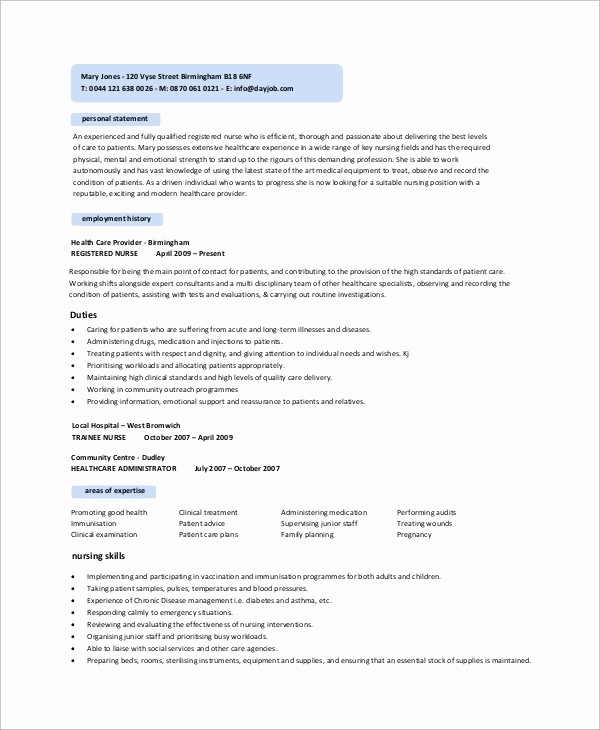 Registered Nurse Resume Template Word Beautiful 10 Sample Nursing Resumes