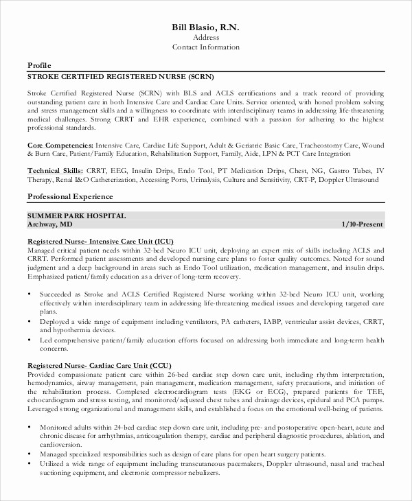 Registered Nurse Resume Template Word Best Of 9 Sample Registered Nurse Resumes