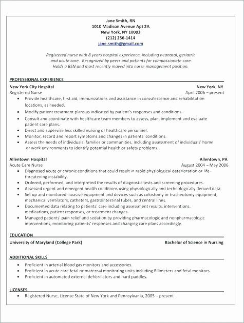 Registered Nurse Resume Template Word Best Of Cv Nurse Example Registered Nurse Rn Resume Sample