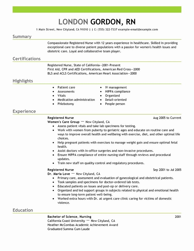 Registered Nurse Resume Template Word Best Of Unfor Table Registered Nurse Resume Examples to Stand