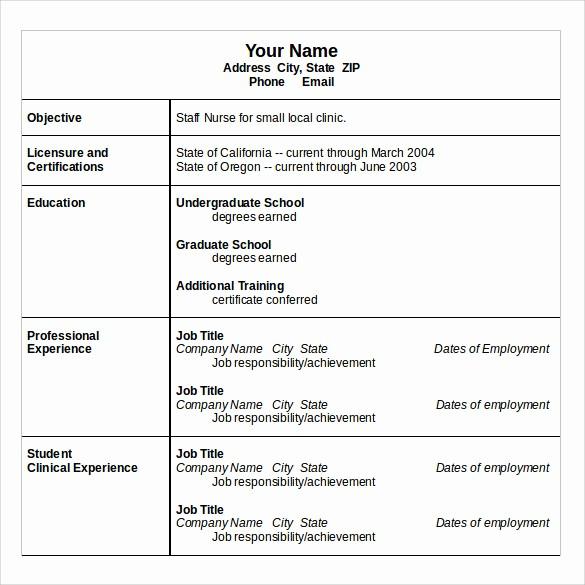 Registered Nurse Resume Template Word Elegant 11 Sample Nurse Resumes for Free Download