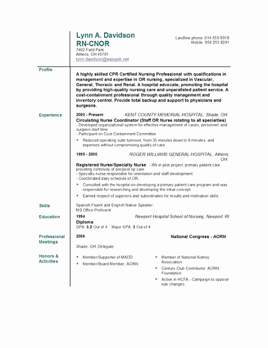 Registered Nurse Resume Template Word Fresh Registered Nurse Resume Template Word