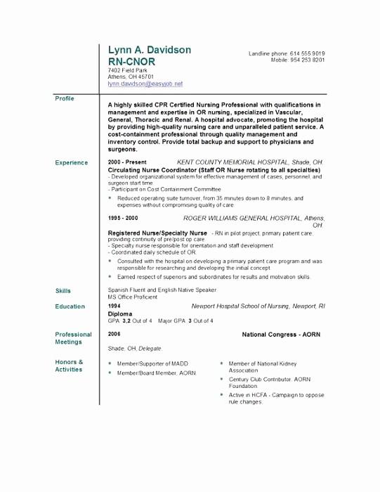 Registered Nurse Resume Template Word Fresh Registered Nurse Resume Template Word