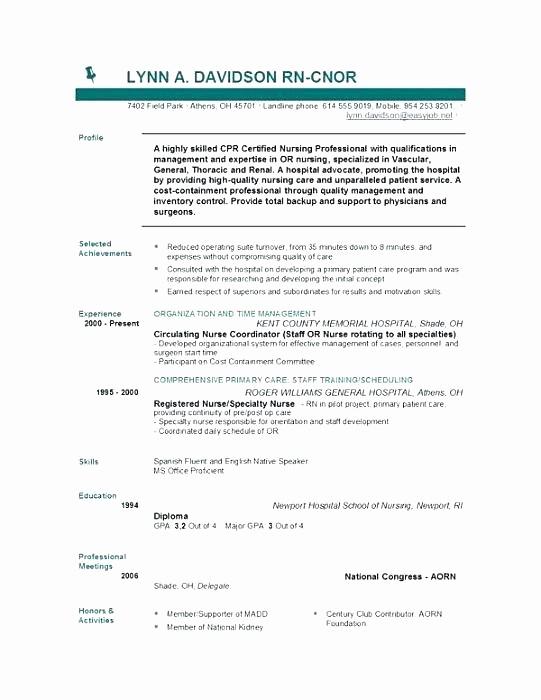 Registered Nurse Resume Template Word Lovely Curriculum Vitae Example Registered Nurse Resume Template