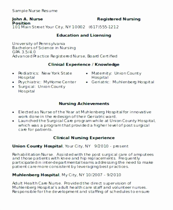 Registered Nurse Resume Template Word New Beaufiful Entry Level Rn Resume 2017 Nursing