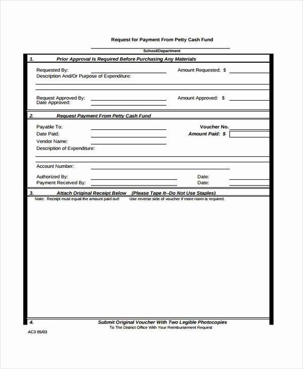 Request for Funds form Template Elegant Receipt form In Pdf
