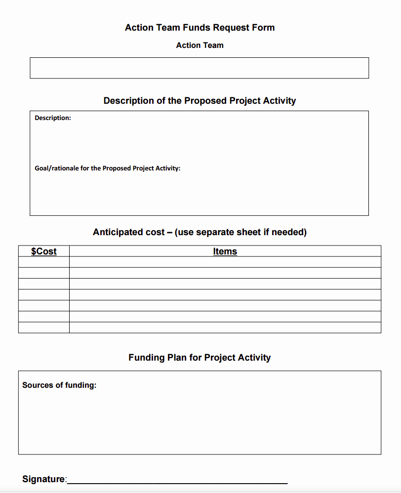 Request for Funds form Template Lovely Action Team Funds Request form