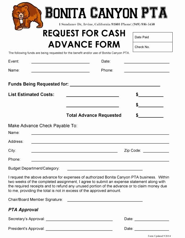Request for Funds form Template Unique Cash Advance Bonita Canyon Pta
