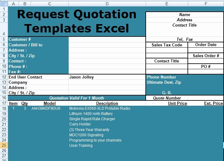 Request for Quote Template Word Awesome Request Quotation Templates Excel Free