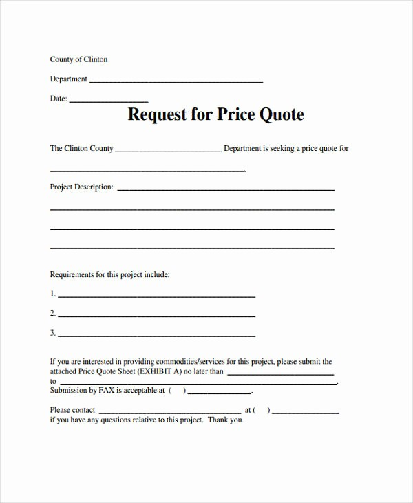 Request for Quote Template Word New 9 Price Quotation Templates Pdf Doc