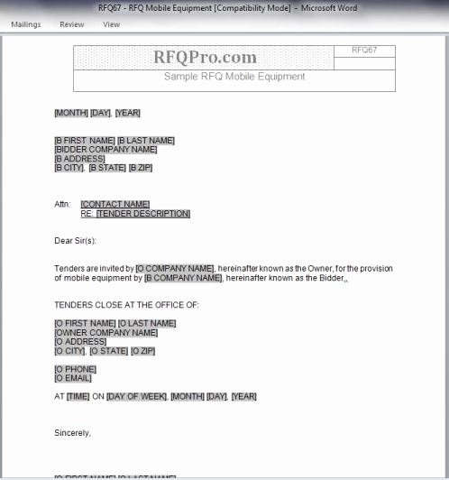 Request for Quote Template Word New Rfq Templates Rfp Templates