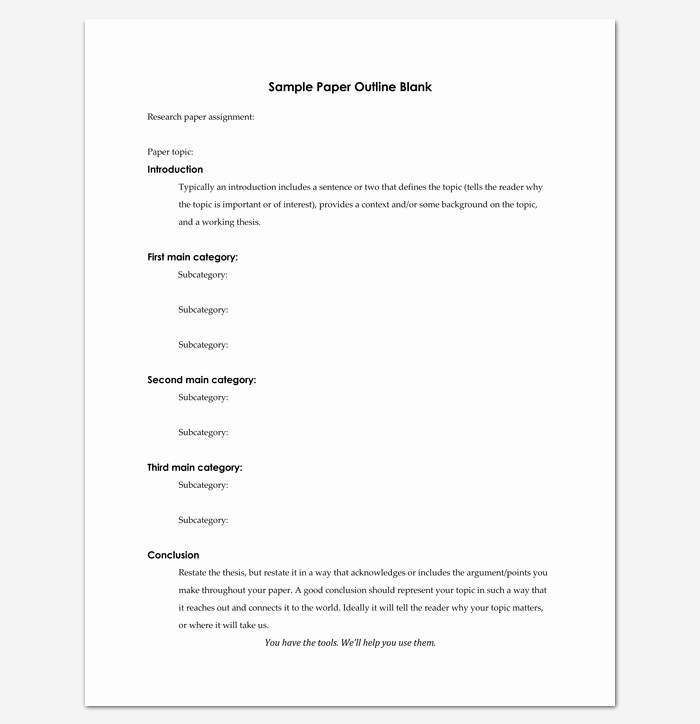 Research Paper Outline Template Word Inspirational Blank Outline Template 11 Examples and formats for