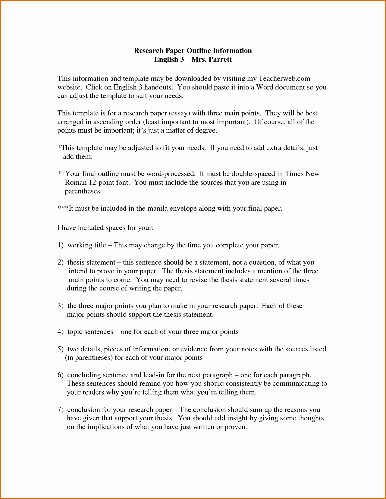 Research Paper Outline Template Word Lovely 9 Research Paper Outline Template