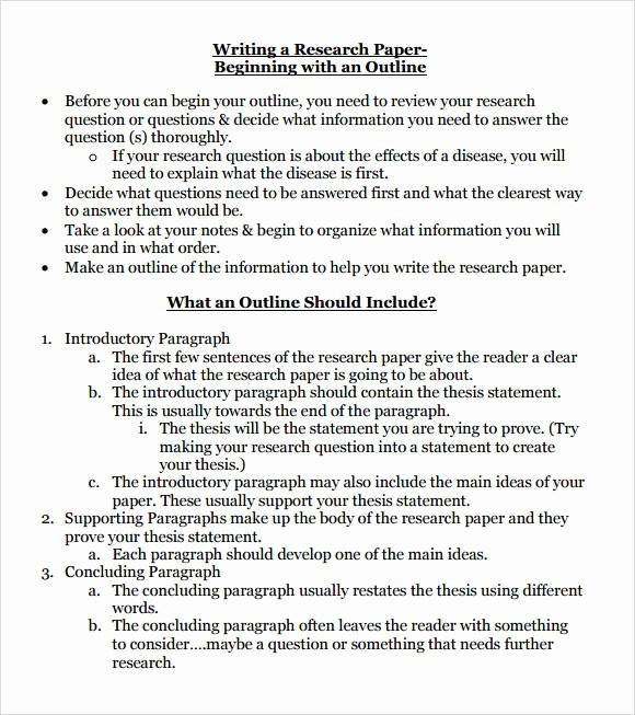 Research Paper Outline Template Word Luxury 10 Sample Research Paper Outline Templates to Download