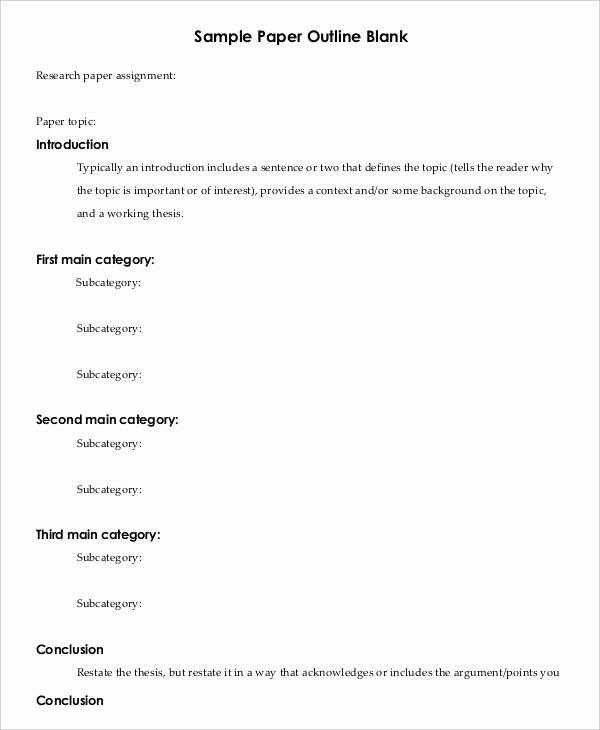 Research Paper Outline Template Word Luxury Printable Research Paper Outline Template 8 Free Word