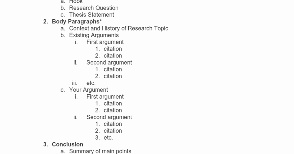 Research Paper Outline Template Word New Research Paper