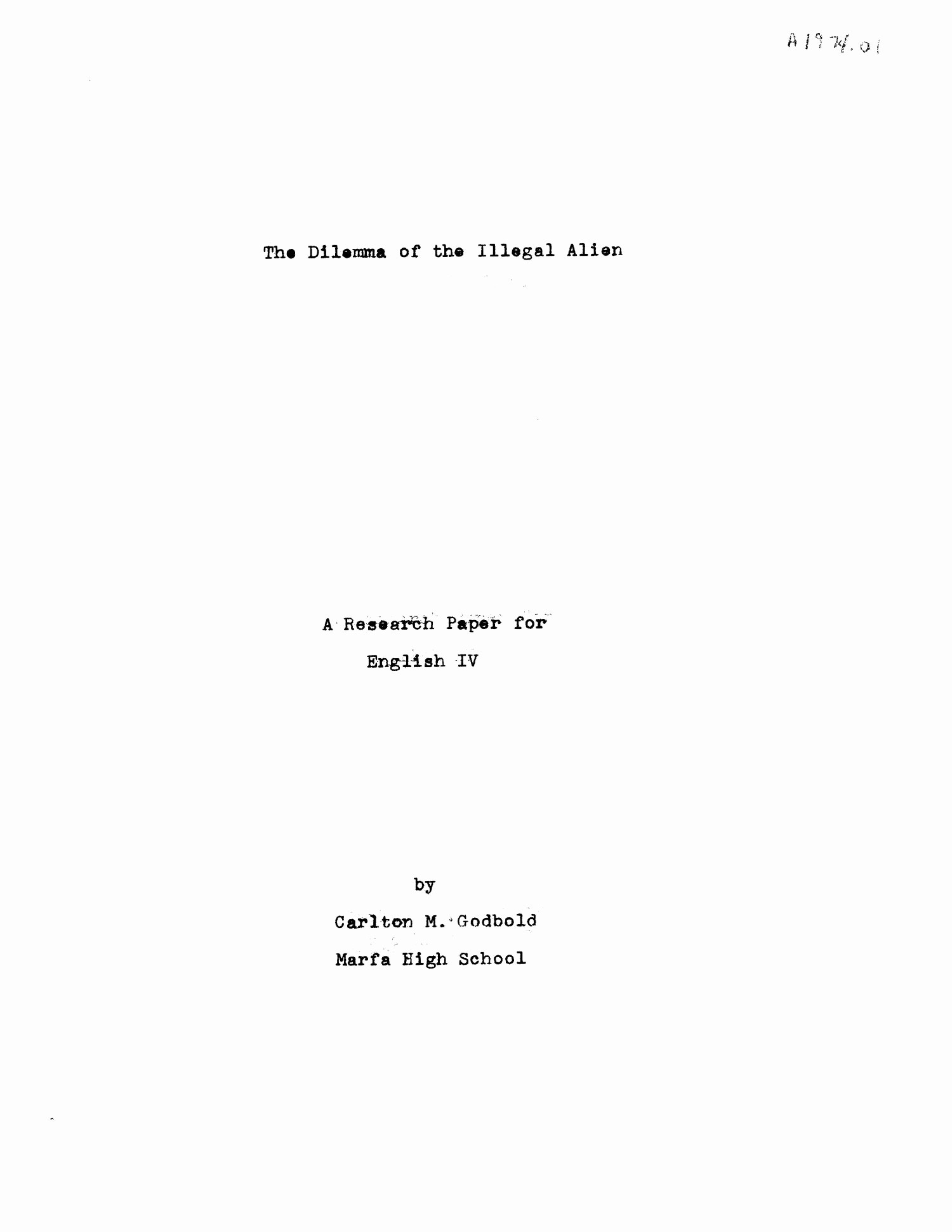 Research Paper Title Page Template Beautiful the Dilemma Of the Illegal Alien A Research Paper for