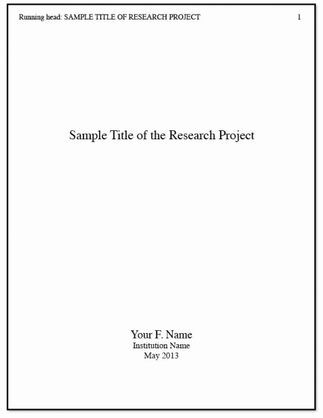 Research Paper Title Page Template Best Of Apa Title Page Writing A Research Paper