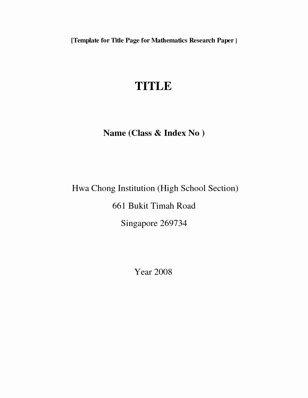 Research Paper Title Page Template Elegant Mla format Title Page Research Paper Bamboodownunder