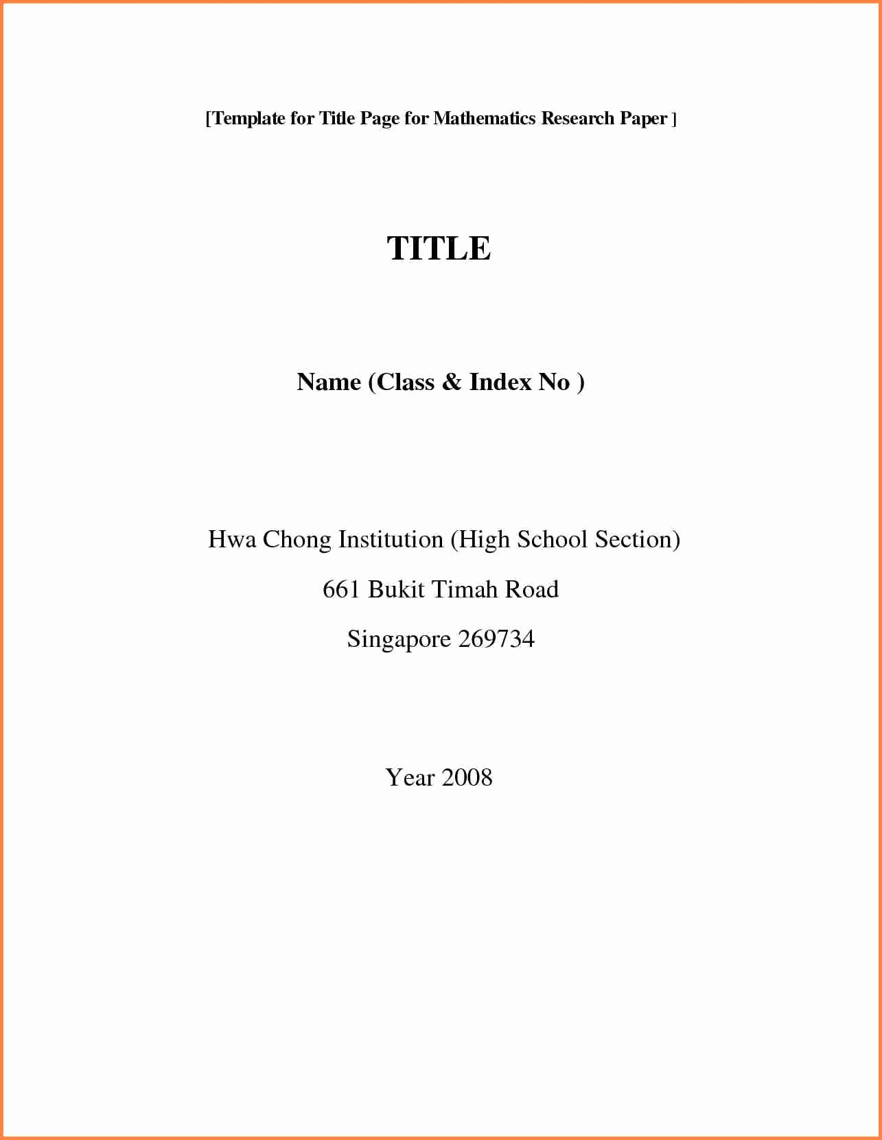 Research Paper Title Page Template Luxury 15 Research Paper Cover Page