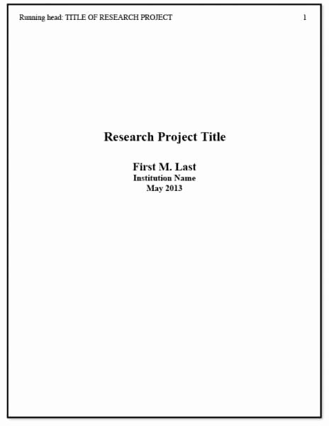 Research Paper Title Page Template New Apa Title Page