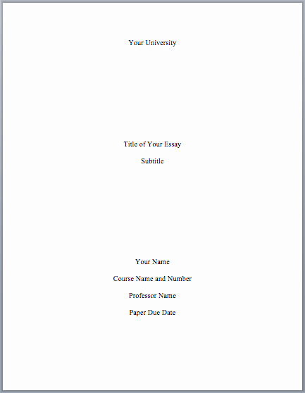 Research Paper Title Page Template Unique Mla format Cover Page