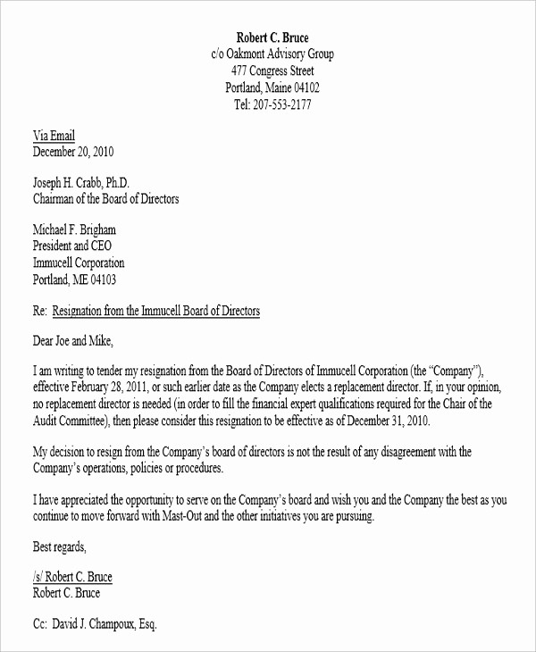 Resignation From Board Of Directors Best Of Corporate Resignation Letter Templates 9 Free Word Pdf