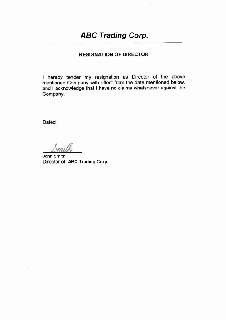 Resignation From Board Of Directors Best Of Sample Board Directors Acceptance Letter Contoh 36
