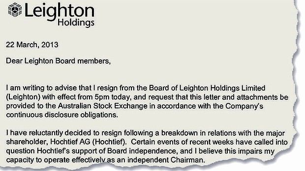 Resignation From Board Of Directors Elegant Leighton Directors Quit Board