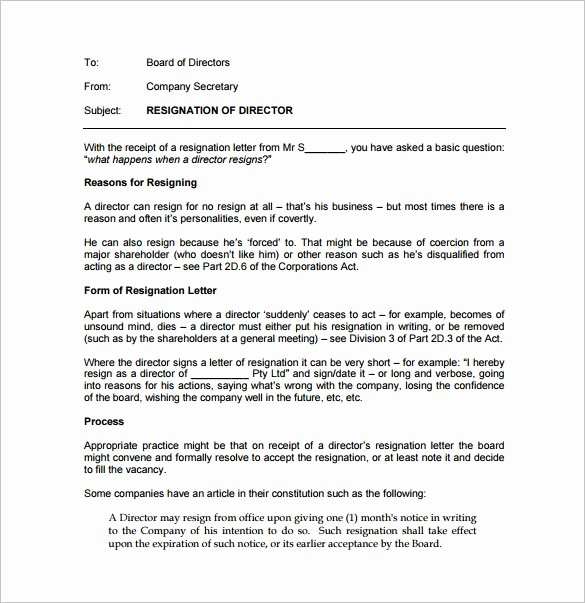Resignation From Board Of Directors Elegant Resignation Letter Templates 14 Free Sample Example