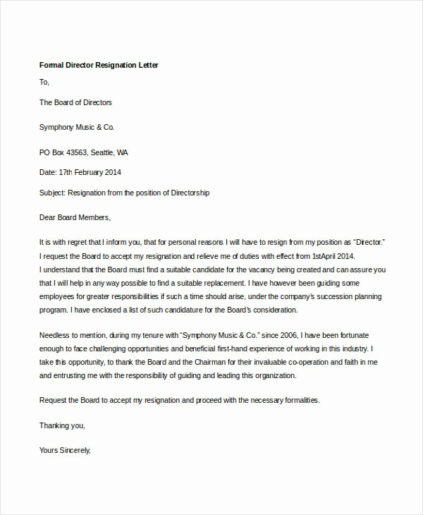 Resignation From Board Of Directors Fresh 14 formal Resignation Letters Free Sample Example